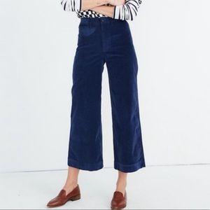 Madewell Emmett Wide Leg Crop Pants in Velveteen